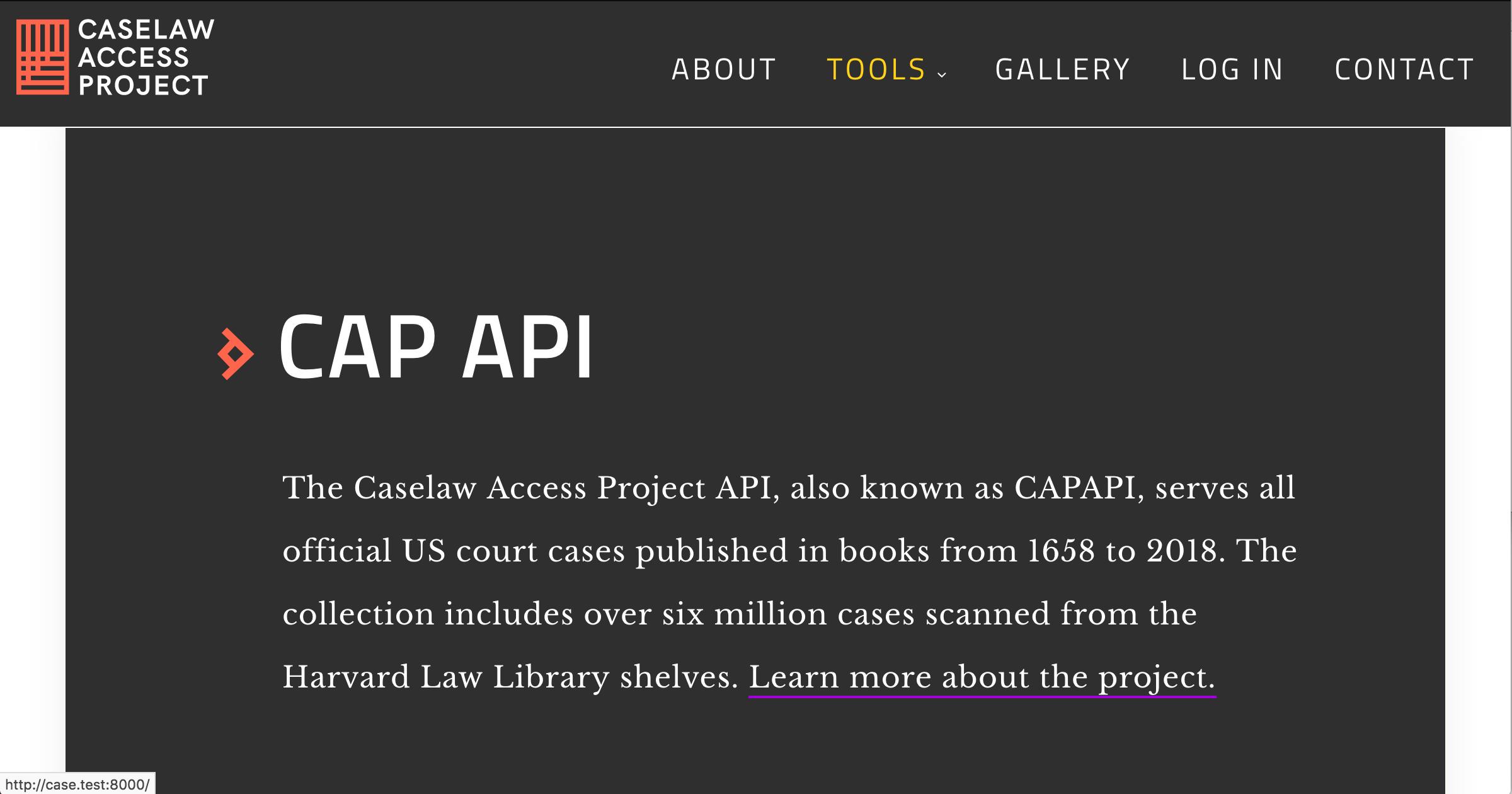 API documentation | Caselaw Access Project